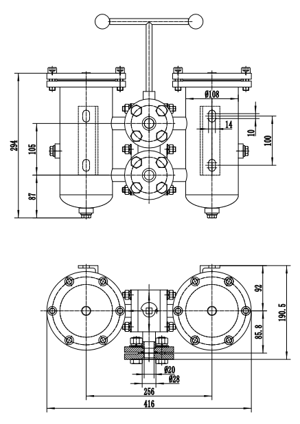 Stainless Steel Duplex Filter drawing