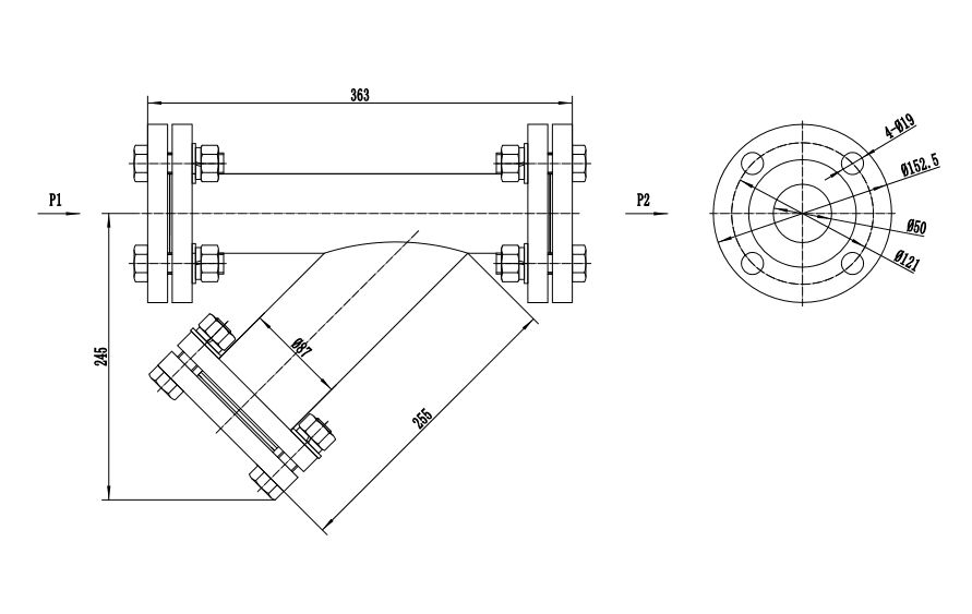 fabricated filter overall size