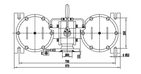 Top view of low pressure duplex filter