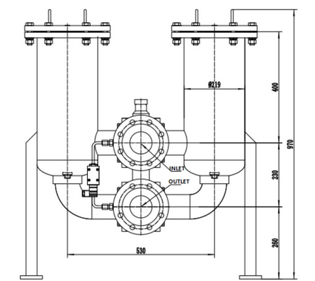 A technical drawing of a low pressure duplex filter