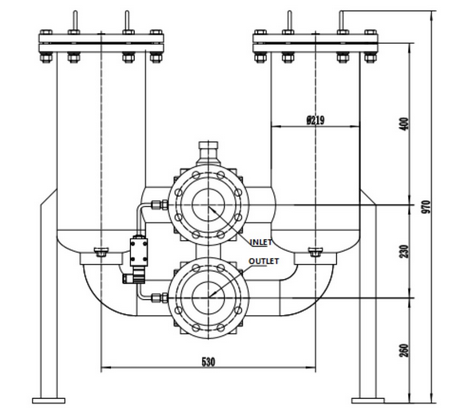 technical drawing of low pressure duplex filter