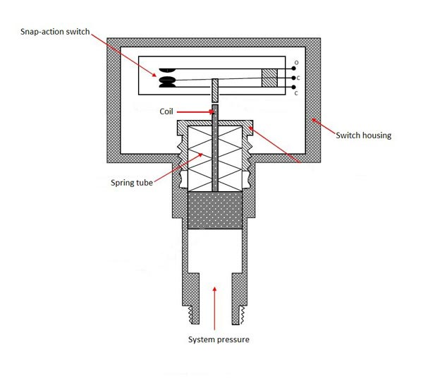 Section of a pressure switch