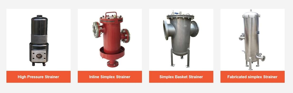 Figure 5 - Different types of simplex basket strainer