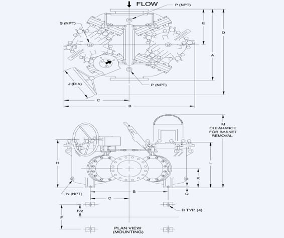 Large Duplex Strainer Technical Drawing