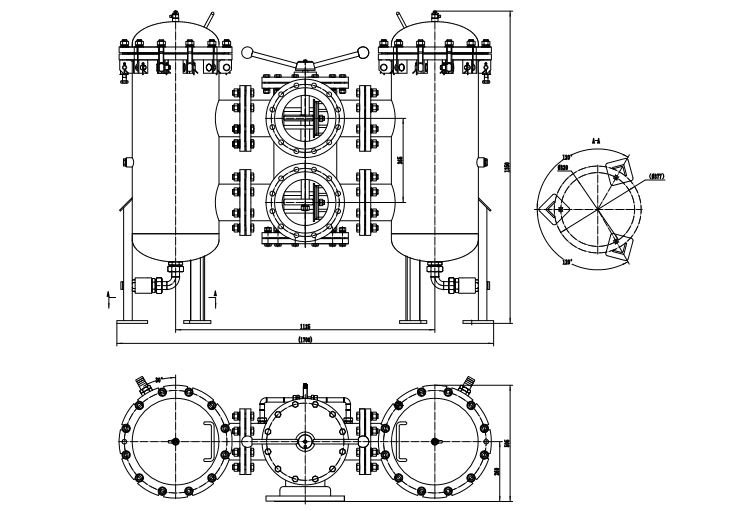 Technical drawing of a duplex strainer