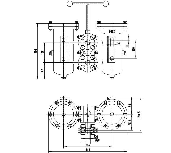 Technical drawing of duplex filter housing