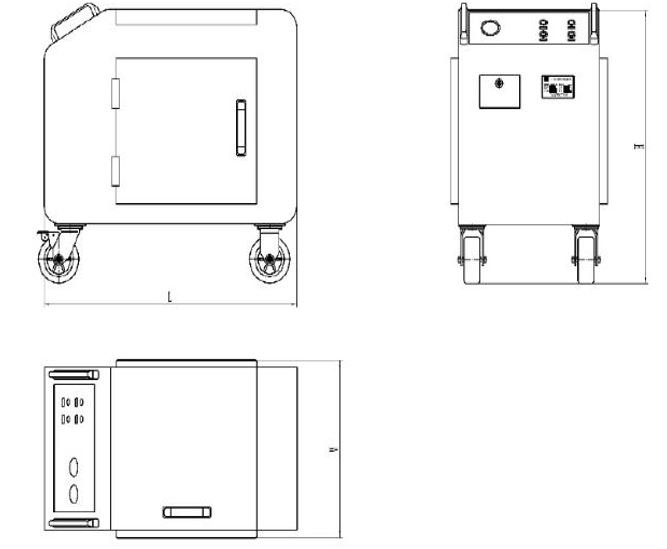 Technical drawing of tote filter cart