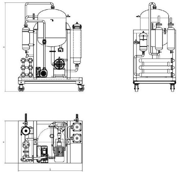 Technical drawing of vacuum dehydrators