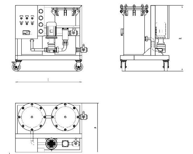 Technical drawing of high solid filter cart