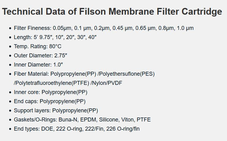Technical data of membrane filter cartridge