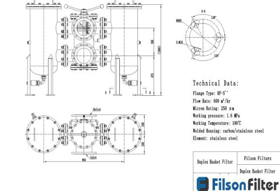 Technical drawing of duplex basket strainer