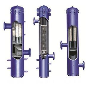 Vertical coalescing filter housing