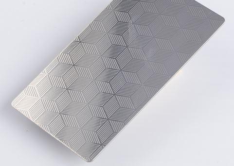 Embossed sintered stainless steel sheet