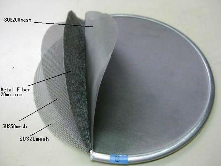 Sintered metal fibre felt disc