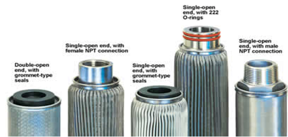 End configuration of stainless steel sintered filter cartridge