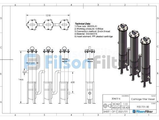 Filson water cartridge filter housing drawing design